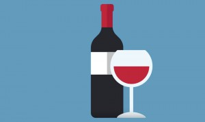 Illustration of a bottle of red wine beside a full wine glass