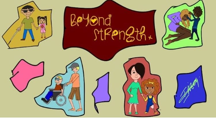 Beyond strength illustration of children and parents with disabilities. Network helping parents when discussing disabilities with your child.